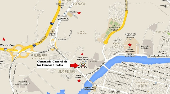 US consulate guyaaquil map