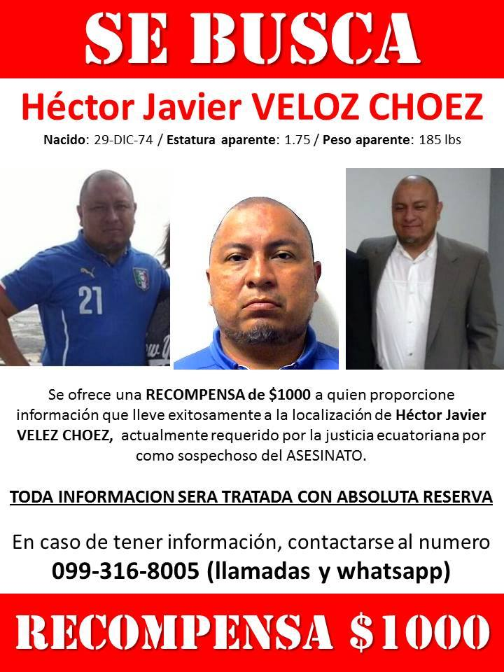 Hector Javier Veloz Dhoez wanted poster
